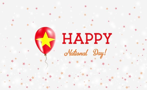 Plakat patriotyczny święto narodowe wietnamu. latający balon gumowy w kolorach flagi wietnamskiej. święto narodowe wietnamu tło z balonem, konfetti, gwiazdy, bokeh i błyszczy.