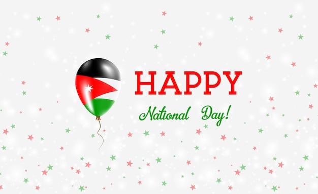 Plakat patriotyczny z okazji dnia narodowego jordanii. latający balon gumowy w barwach flagi jordanii. jordan national day tło z balonem, konfetti, gwiazdy, bokeh i błyszczy.