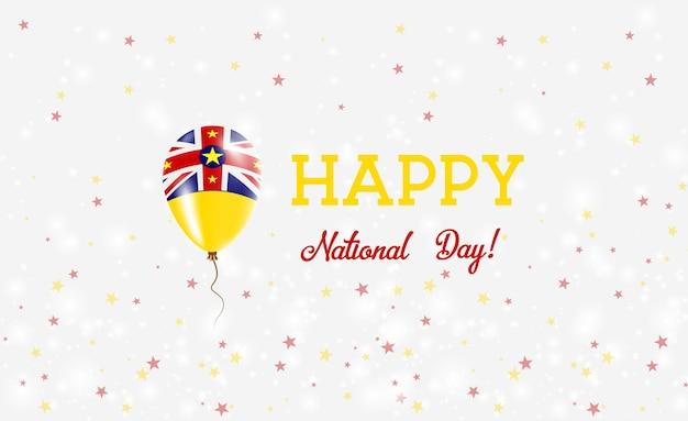 Plakat patriotyczny z okazji dnia narodowego niue. latający balon gumowy w kolorach flagi niuean. niue święto narodowe tło z balonem, konfetti, gwiazdy, bokeh i błyszczy.