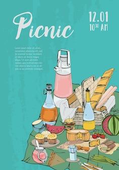 Plakat piknikowy z miejscem na tekst i jedzenie