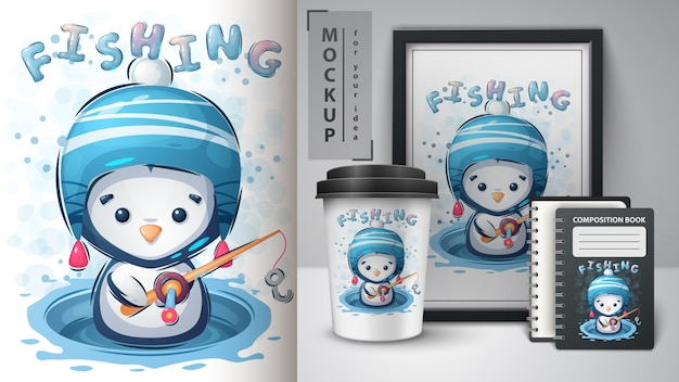 Plakat pingwina zimowego i merchandising