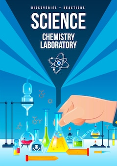 Plakat pionowy laboratorium chemicznego