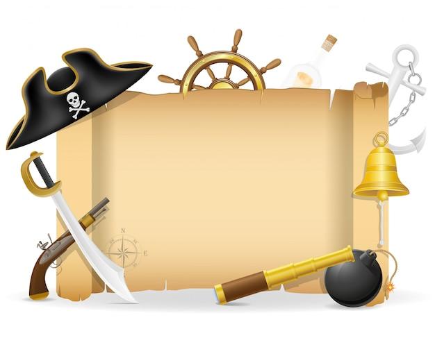 Plakat pirata z ilustracji wektorowych copyspace
