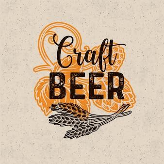 Plakat piwa rzemieślniczego. wygląd menu alkoholu w stylu retro. szablon pubu z chmielem i pszenicą.