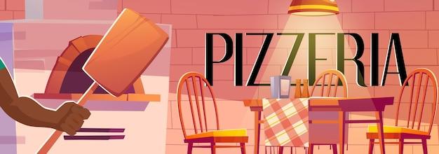 Plakat pizzerii z przytulnym wnętrzem kawiarni z piekarnikiem