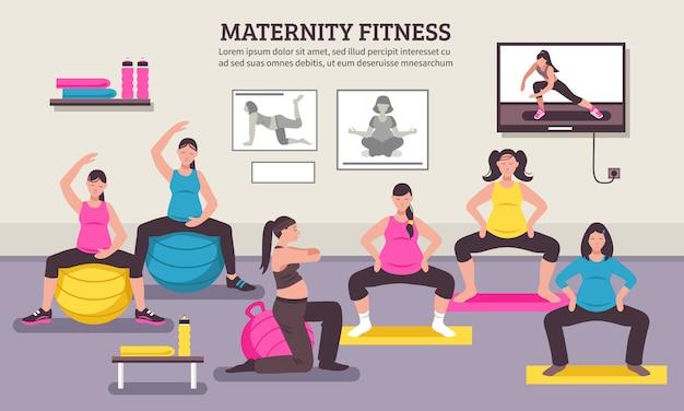 Plakat płaski fitness klasy ciążowej