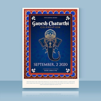 Plakat płaski ganeśćaturthi