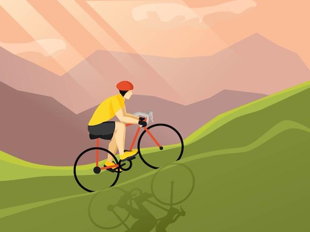 Plakat płaski rowerzysta