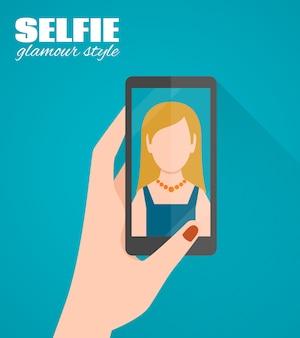 Plakat płaski selfie