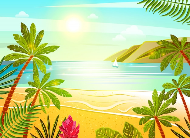 Plakat płaski tropikalnej plaży morze