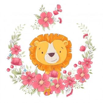 Plakat pocztówka ładny mały leon w wieniec z kwiatów.