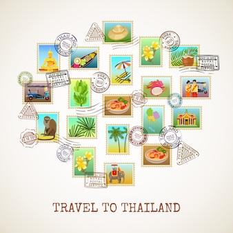 Plakat pocztówki tajlandii