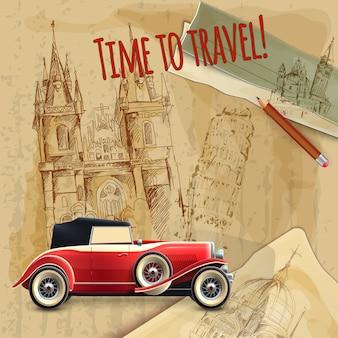 Plakat podróż europa samochód vintage