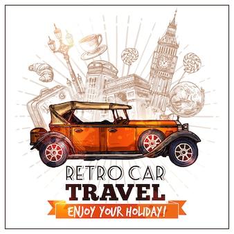 Plakat podróż retro samochodów