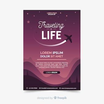 Plakat podróż samolotem sylwetka