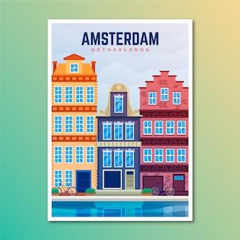 Plakat podróż wakacje amsterdam