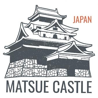 Plakat podróż wektor z japońskiego wzroku zamek sylwetka