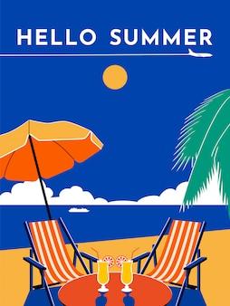 Plakat podróżniczy hello summer. słoneczny dzień, plaża, morze, parasol, krzesło, szezlong, koktajl, palma, samolot, niebo, liniowiec. płaska ilustracja.