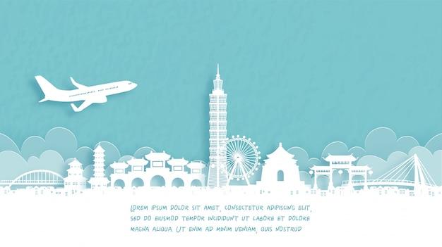 Plakat podróżniczy z powitaniem w tajpej, chiny