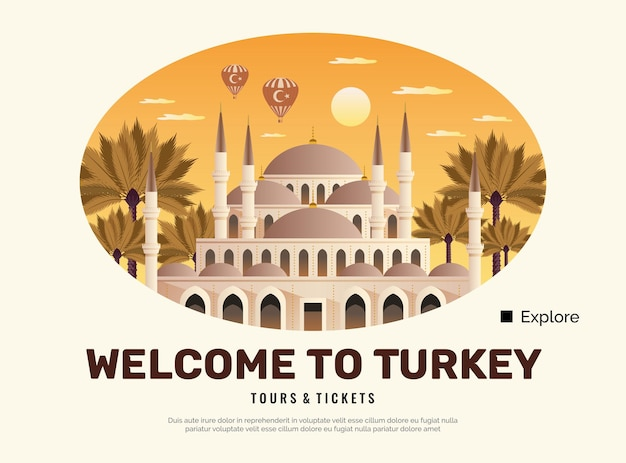 Plakat podróżny do turcji z płaskimi symbolami wycieczek i biletów