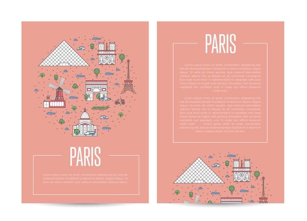 Plakat podróżny miasta paryża w stylu liniowym