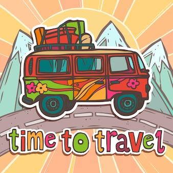 Plakat podróżny z autobusem