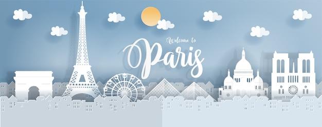 Plakat podróżny z paryżem