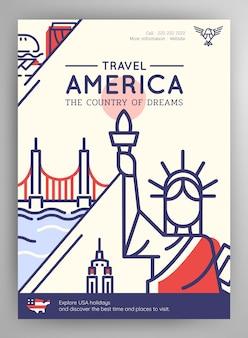 Plakat podróży stanów zjednoczonych ameryki