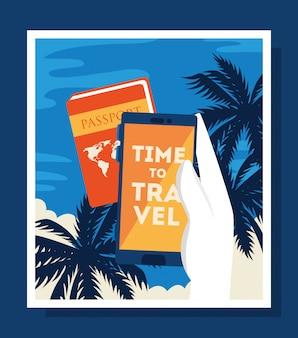 Plakat podróży w czasie z paszportem i telefonem komórkowym