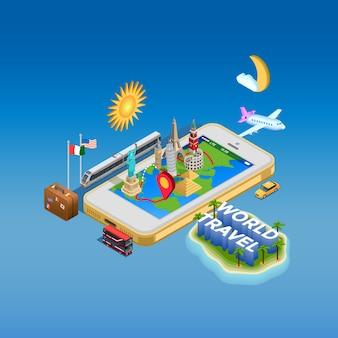 Plakat pojęcie podróży i zabytków