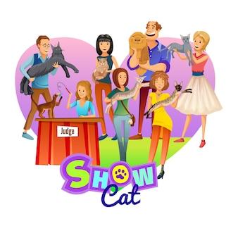 Plakat pokaż koty. kreskówka ludzie ze zwierzakiem.