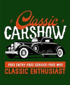 Plakat pokazu klasycznych samochodów