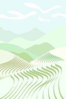 Plakat pola ryżu. chińskie tarasy rolnicze w krajobrazie gór. mglisty krajobraz gruntów rolnych z zielonym niełuskanym. tarasowa plantacja rolnicza. azjatyckie rolnictwo wektor eps tło