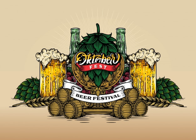 Plakat poziomy na festiwalu piwa oktoberfest