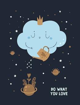 Plakat pozytywnego myślenia, karta z frazą motywacyjną. rób to co kochasz. kocham to co robisz