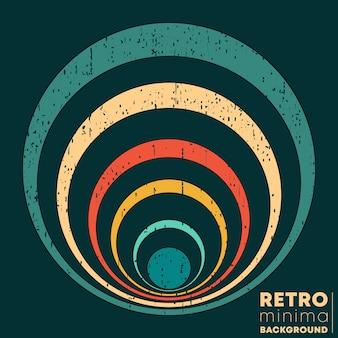 Plakat projekt retro z rocznika grunge tekstur i kolorowe pierścienie. ilustracja wektorowa.
