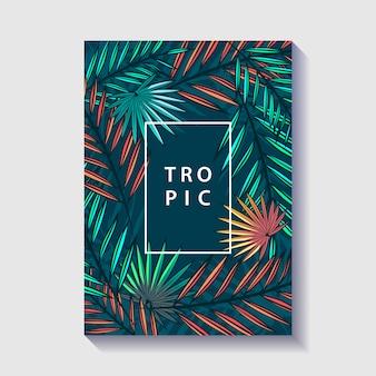 Plakat projekt tropikalny liści i kwiatów.