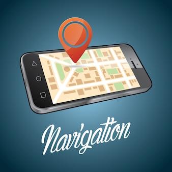 Plakat projekt urządzenia smartfona z cyfrową ilustracją nawigacji obiektu i słowa