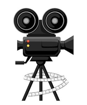 Plakat projektora filmowego retro. ilustracja. koncepcja kina. projektor filmowy z rolkami filmu. ilustracja