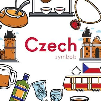 Plakat promocyjny czeskich symboli z architekturą i kuchnią narodową