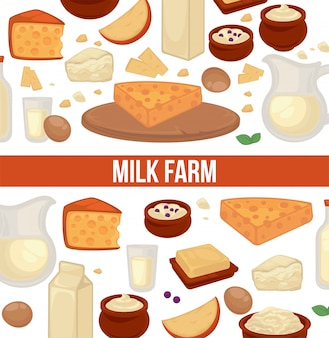 Plakat promocyjny gospodarstwa mlecznego z bezszwowym wzorem produktów mlecznych