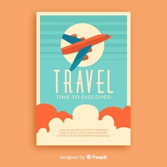 Plakat promocyjny podróży płaski vintage