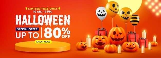 Plakat promocyjny sprzedaży na halloween lub baner z balonami z dynią halloween i duchami
