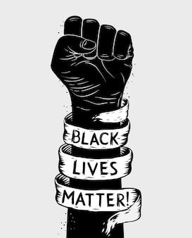 Plakat protestacyjny z tekstem blm, czarny żyje materią i uniesioną pięścią