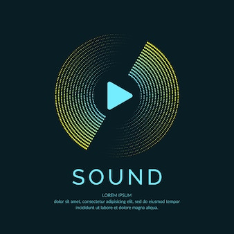 Plakat przedstawiający falę dźwiękową. muzyka ilustracji wektorowych na ciemnym tle.