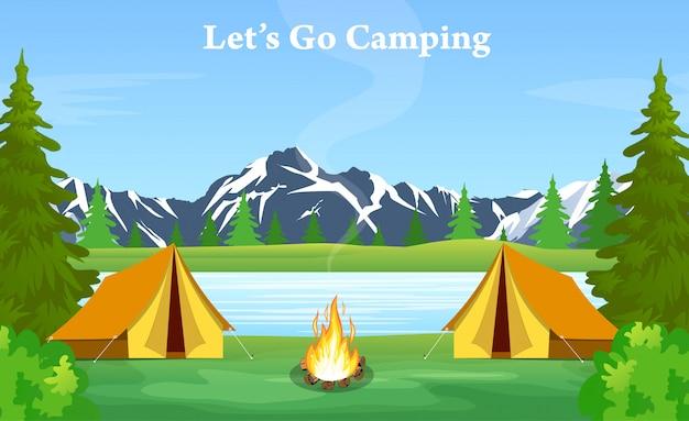 Plakat przedstawiający kemping z ogniskiem