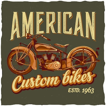 Plakat przedstawiający klasyczny motocykl
