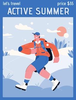 Plakat przedstawiający koncepcję aktywnego lata i lets travel.