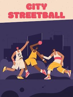 Plakat przedstawiający koncepcję city streetball. koszykarze grający na ulicznym placu zabaw.