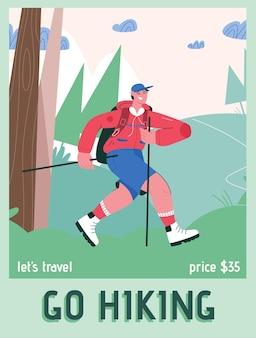 Plakat przedstawiający koncepcję go hiking and lets travel.